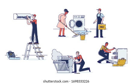 Concept Of Electric Appliances Service. Professional Workers Repairmen In Uniform Are Fixing Appliances. Technicians Are Repairing Electronics. Cartoon Linear Outline Flat Style. Vector Illustration