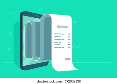 Concept of electronic bill and mobile bank, smartphone with check tape vector illustration