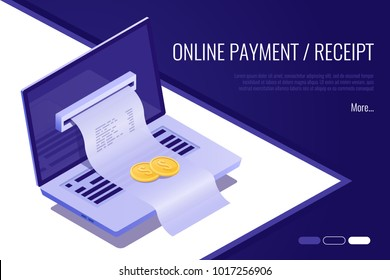 Concept of electronic bill and online bank, laptop with check tape. 3d isometric vector illustration