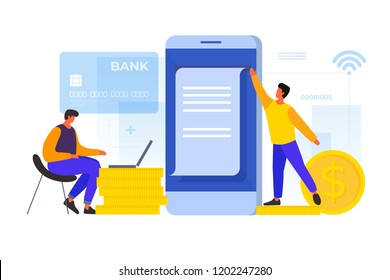 Concept of electronic payments. Young cartoon men make payment using mobile applications on the background of bank card and coins. Vector flat illustration.