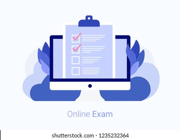 Concept of electronic voting on internet. Online form survey on laptop. Questionnaire, web learning. Trendy flat style. Vector illustration.