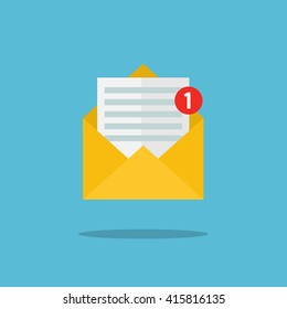 Concept of email notification icon. Letter in yellow cover. Flat design, vector illustration.