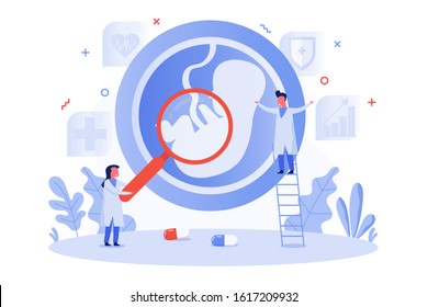 concept of embryo, baby in the womb with tiny doctor holding magnifying glass to detect child, vector flat illustration for web, landing page, ui, banner, editorial, mobile app and flyer