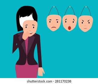 Concept emotion. Woman wears a mask of joy. Vector illustration