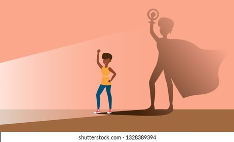 A concept for Empowering afro women in the form of women in the role of superhero in shadow. flat vector illustration. Emancipation, feminism.