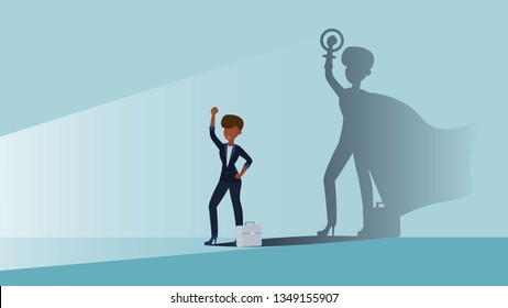 A concept for Empowering afro women in the form of women in the role of superhero in shadow. Business woman flat vector illustration. Emancipation, feminism.
