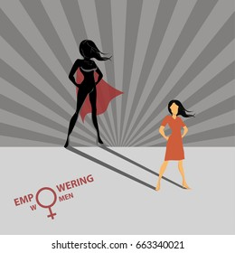A concept for Empowering women in the form of women in the role of superhero in shadow