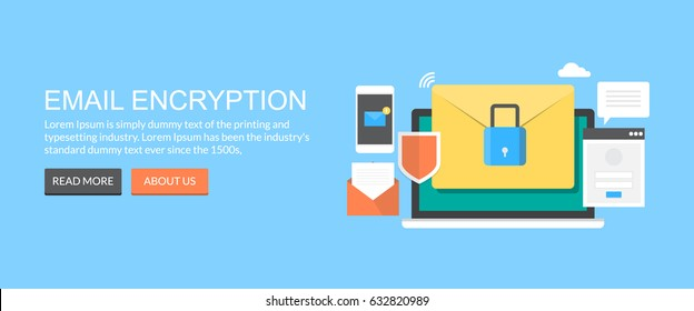 Concept of encryption of emails, data security, protection and authentication flat vector banner with icons and texts