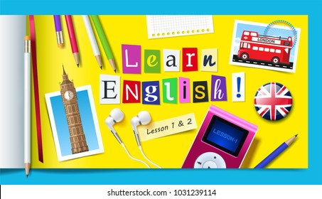 Concept of English language courses with carved paper letters, pencils, mp3 player and headphones.