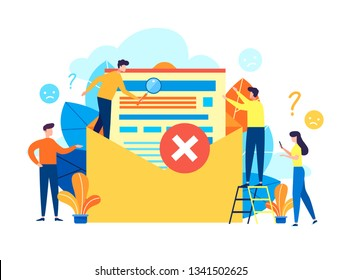 Concept envelope with rejected letter, delete letter, spam, unsubscribe, College rejected admission or employment for web, banner, presentation, documents, cards, posters. Vector flat illustration