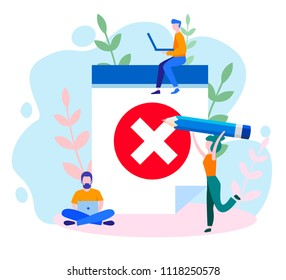 Concept envelope with rejected letter, unsubscribe, College rejected admission or employment for web, banner, presentation, social media, documents, cards, posters. Vector illustration red x mark