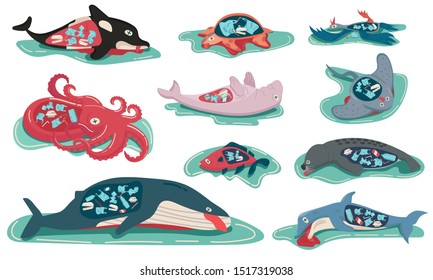 Concept of environment plastics pollution effect to animals life, set of marine died, dolphin, dugong, fish, killer whale, octopus, ray, seagull, seal, turtle, whale. cartoon flat vector illustration.
