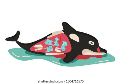 concept of environmental, sea, ocean pollution with plastic waste, bottle, garbage, trash or rubbish in animal stomach, marine life, dead killer whale. cartoon flat vector illustration.