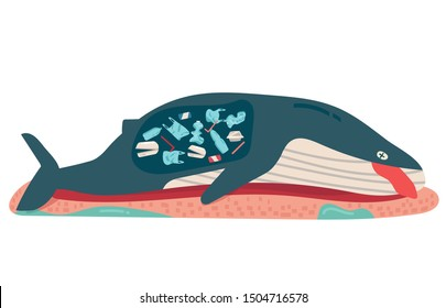 concept of environmental, sea, ocean pollution with plastic waste, bottle, can, foam, garbage trash or rubbish in animal stomach, marine life, dead whale on the beach. cartoon flat vector illustration
