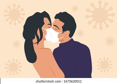 The concept of an epidemic disease. Loving guy and girl kiss through a protective mask. Love through the coronovirus.