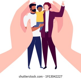 The Concept of Equality and Protection Against Discrimination of Transgender People. Homosexual Family With a Child. Union of Gay Romantic Partners.