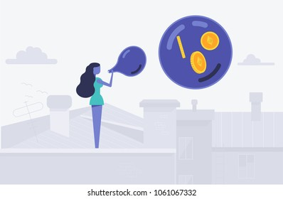 Concept of etherium bubble balloon with etherium symbol as vector illustration flat style