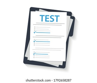 Concept exam, survey, testing. Test form with Clipboard. Test mark on a folder. Examining. Passing the knowledge test and exam. IQ test. Online survey. Checklist, Internet surveying list