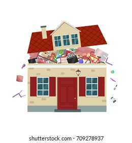 The concept of excessive  consumerism. House bursting of stuff. Vector illustration.
