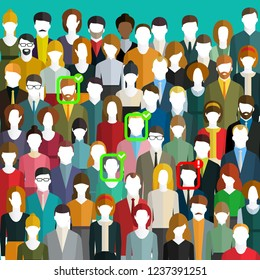 Concept of face identification. A crowd of people with ID marks on face. Face recognition system verifying suspect in the crowd. Flat design, vector illustration.