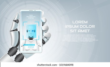 Concept of face recognition system of robot organism. Arm with smartphone of mechanical humanoid with virtual HUD interface with augmented reality. Vector illustration. Techno web banner with cyborg.