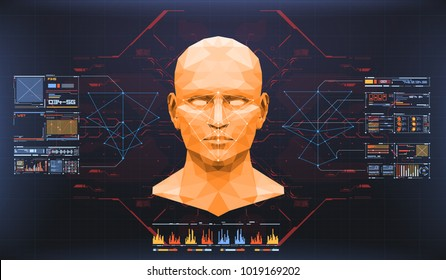 Concept of face scanning. Accurate facial recognition biometric technology and artificial intelligence concept. Face detection HUD interface.