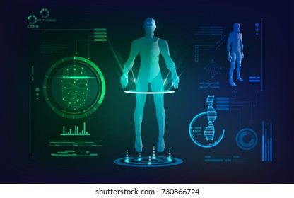 concept of face scanning and healthcare technology; scientific interface of identity check; digital blueprint of 3D body part of human