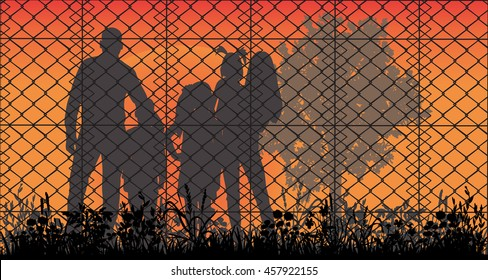 Concept of the family of refugees. Silhouette of refugee families near the fence,VECTOR