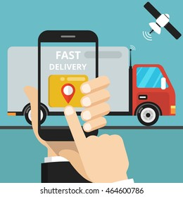 Concept of the fast delivery service. Online order. Flat vector illustration.
