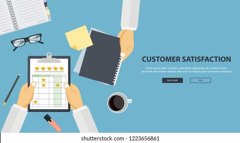Concept of feedback, testimonials messages and notifications. Rating on customer service illustration. Office desk with equipment and document with five stars. Flat vector