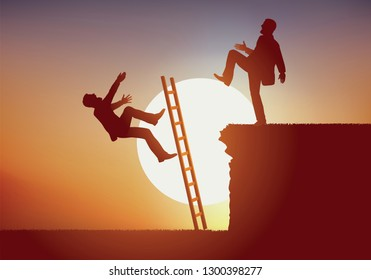 Concept of fierce fight between two men competing for a job in business. The winner prevents his rival from reaching the top by pushing the ladder and throwing him into the void.