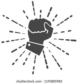concept of fighting for rights. Flat black icon hand compressed in fist on white background