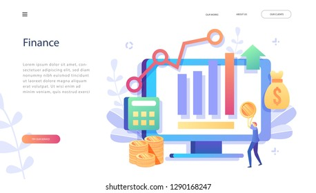 Concept Finance, Investment in innovation, marketing, analysis, security of deposits for web page, banner, presentation, social media. Vector illustratio business  investments