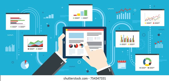Concept of finance investment planning, analytics Information in the form of a graph or diagram with growth report on mobile device.  Successful business. Flat design vector illustration.