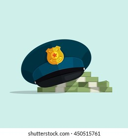Concept of financial corruption, official law security, bribe, flat cartoon police hat covers pile of money vector illustration on blue background