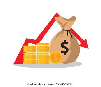 concept of financial crisis, down arrow stock graph, market fall vector  illustration