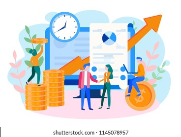 Concept Financial investments, Investment in innovation, marketing, analysis, security of deposits for web page, banner, presentation, social media. Vector illustration guarantee of security financial
