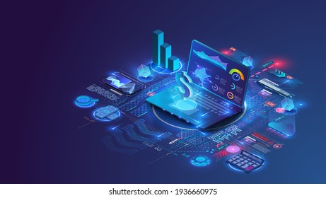 Concept of financial management,business strategies. Financial overview with notebook elements and infographics. Data analysis and investment. A flat isometric vector illustration on a blue background