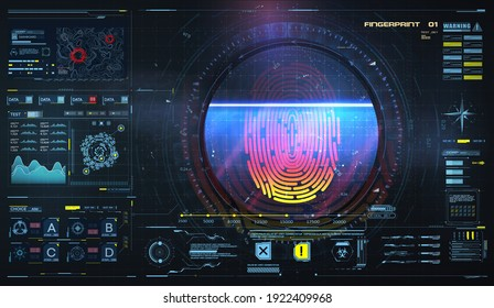 Concept of fingerprint technology identification. Biometric Interface. Futuristic sci-fi red interface, biometric authorization technology on tech background with HUD, GUI, FUI elements. Vector