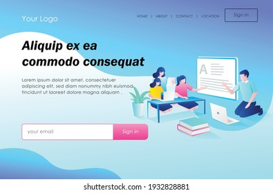 The concept of flat isometric design, is doing tutoring