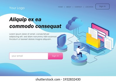 The concept of flat isometric design, is doing email security and web developer and maintenance