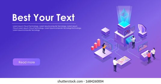 the concept of flat isometric illustration seo optimization center security web design and cloud server