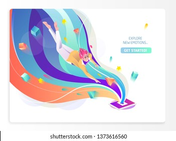Concept in flat style with man falling to tablet. Internet freedom, free wifi, on-line education, game, reading, inspiration. Vector illustration.
