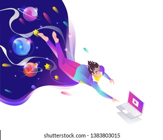 Concept in flat style with man falling down to laptop. Planets and space. Internet freedom, free wifi, on-line education, game, reading, inspiration. Vector illustration.