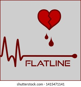 Concept Of Flatline Icon With Cracked Bloody Heart And Pulse Line