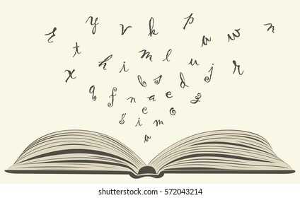 concept of flying letters from old open book