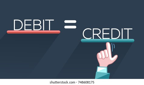 concept of fraud, deception in the form of a hand that aligns the debit with the loan, credit. Icon, silhouette in the flat style.