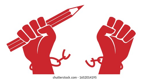 Concept of freedom of expression, with a raised fist holding a red pencil that breaks its chains by symbolizing the struggle for the right to freely express one's opinion.