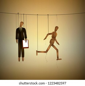 concept of freedom, office worker marionette hanging on the threads and one marionette running away, be free idea, vector
