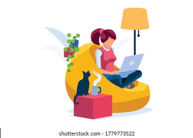 Concept of freelancer at home set. Working relaxed, work comfortable, set of workplaces with homes and characters. Freelancer woman on freelance concept. Isometric Illustration Vector Design.
